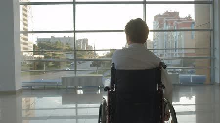 rokkant : disabled businessman on a wheelchair at a window uses smartphone