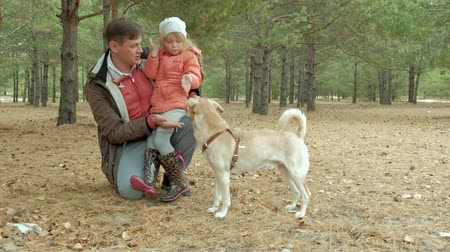 pies : father and daughter playing in the park in love with Dog