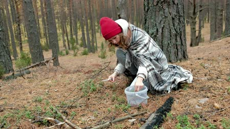 vörösáfonya : Young woman picking berries in the forest in the fall in cold weather