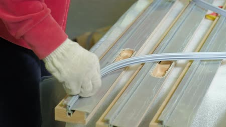 yine : packing wooden door for transportationwooden door manufacturing process.production of interior doors of wood Stok Video