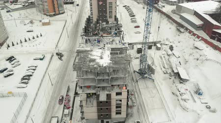 crew : aerial survey of the construction site Stock Footage