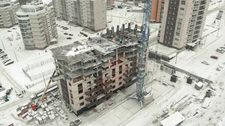 crane fly : aerial survey of the construction site Stock Footage