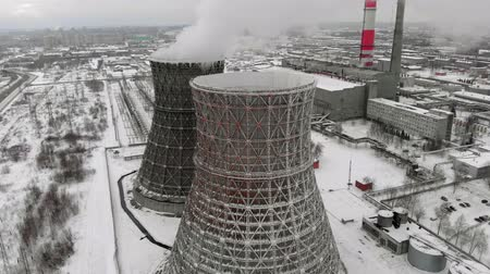 дымоход : Heat electric station in winter. Aerial view. Top view, copter shoot