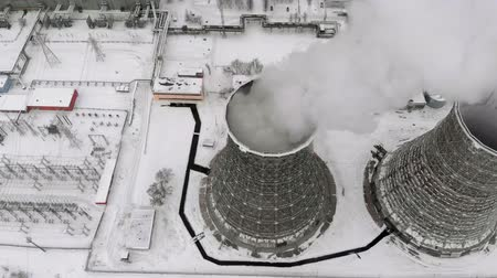 combinado : Heat electric station in winter. Aerial view. Top view, copter shoot