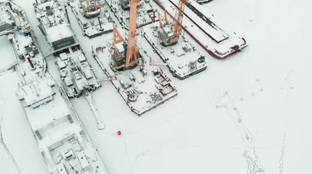 kötött : frozen seaport, winter berths of ships, copter shoot
