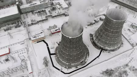 chp : Heat electric station in winter. Aerial view. Top view, copter shoot