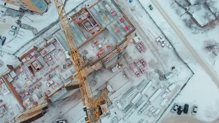 crane fly : construction of a house, aerial, copter shoot