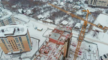 гражданский : construction of a house, aerial, copter shoot