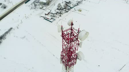 külvárosok : Tower with antennas and cymbals cellular, wireless. Copter shoot