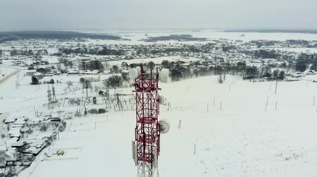 telephone tower : Tower with antennas and cymbals cellular, wireless. Copter shoot