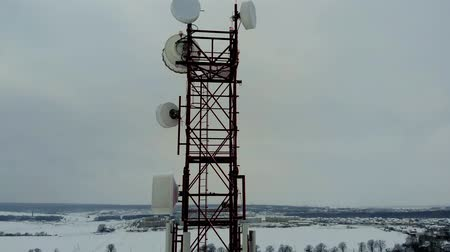 cymbals : Tower with antennas and cymbals cellular, wireless. Copter shoot