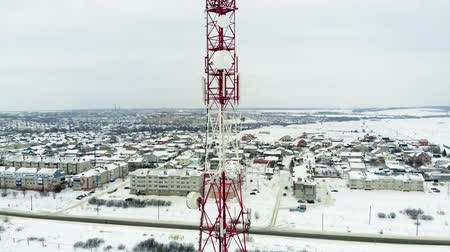 antennák : Tower with antennas and cymbals cellular, wireless. Copter shoot
