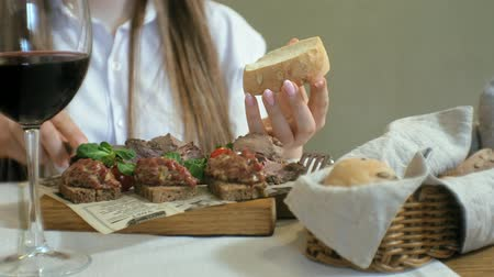 grzanki : close-up shooting: a tasty meat dish, rye bread croutons with pate and tar tar, beef roast