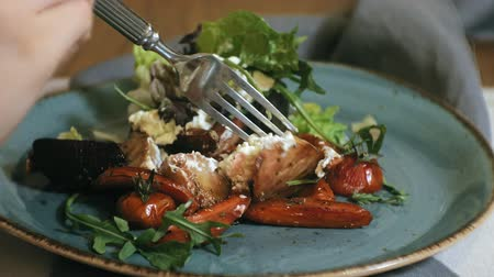 grzanki : close-up shooting: delicious warm vegetable salad with chicken Wideo