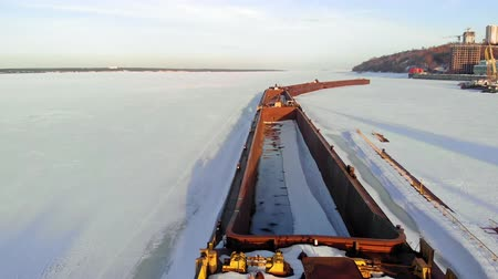 resmedilmeye değer : old ship, barge, on a frozen river, aerial shooting