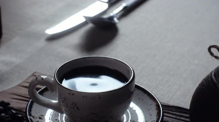 comes : Turkish coffee in the cup. traditional turkish coffee Stock Footage