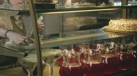 firenze : cleaning the glass case cleaning work space Stock Footage