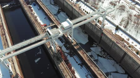 sluice : gateways for ships on the river, aerial footage