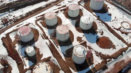 petrolkémiai : oil storage base, aerial survey Stock mozgókép