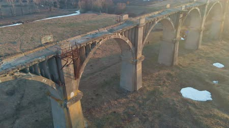 avrupa birliği : old historic railway bridge, aerial shot from quadrocopter
