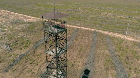 rozhledna : metal tower in the field, aerial shooting