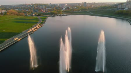 tek renkli : High fountains at sunset. Air shooting from the drone