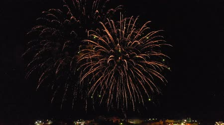 bułgaria : Fireworks over the city. Air shooting from the drone Wideo