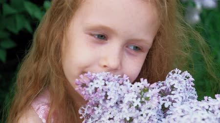 vůně : A little girl outdoors in a park or garden holds lilac flowers. Lilac bushes in the background. Summer, park