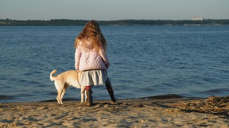 him : Girl preschool girl  playing with a brown labrador dog on the beach. Spring or cold summer Stock Footage