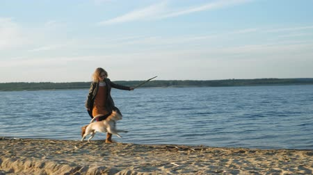 retriever : A young woman run, play with a brown dog labrador on the beach on the bank of the river. Spring. Stock Footage