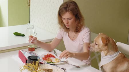ped : Woman with a dog in the kitchen at the table. Breakfast. Friendship of man and pet.