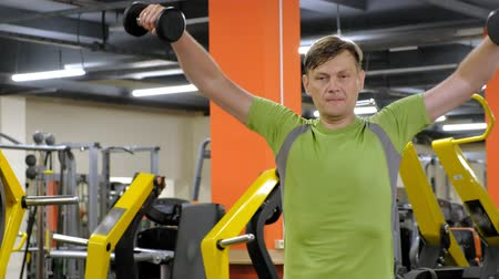 přímý : A man doing an exercise on the back delta with dumbbells sitting with a straight grip in a fitness studio