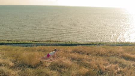 Young woman doing sports outdoors, yoga. aerial video