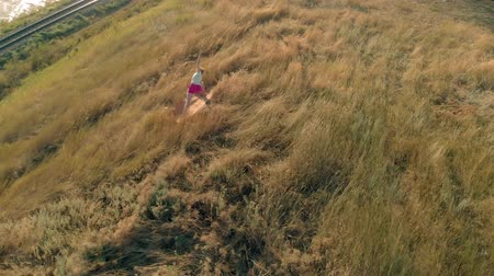 zasnoubený : Young woman doing sports outdoors, yoga. aerial video