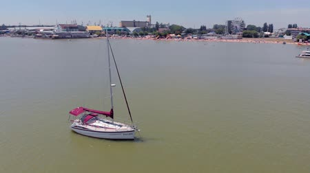 The boat is at sea. Aerial video