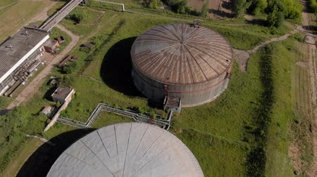 tank top : Oil storage summer aerial survey Stock Footage
