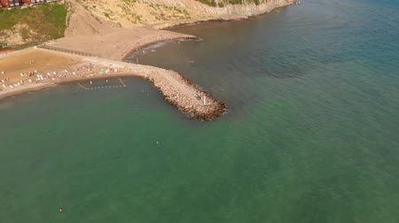 City beach by the sea. Summer. Aerial Video Filming