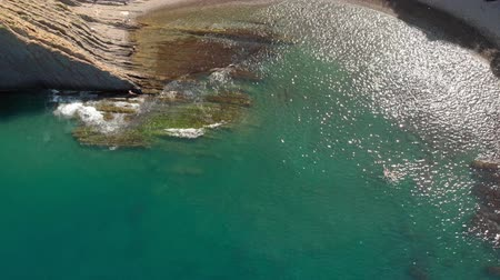 Rocky shore by the sea. Aerial shot