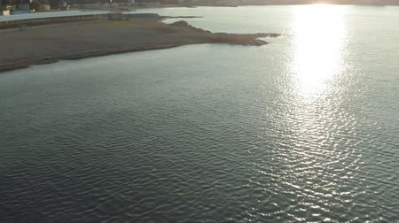 The coastline of the sea at dawn. Aerial Video Filming