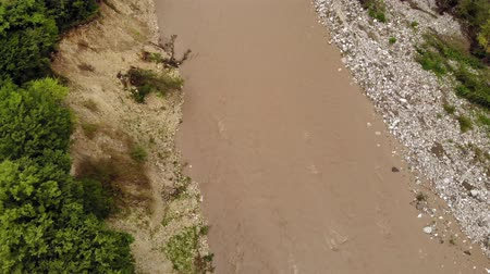 muddy : Mountain river. Aerial Video Filming Stock Footage