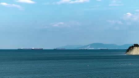 visão global : Cargo ships at sea. time lapse