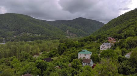 szektor : Flying in a mountain gorge. Aerial survey