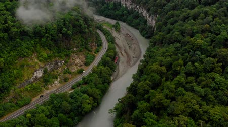 ascend : Flying in a mountain gorge. Aerial survey