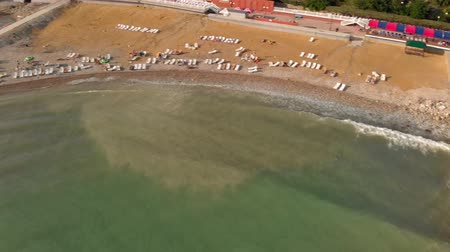 cipro : Flying over a deserted beach. Aerial shot Filmati Stock