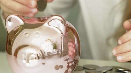 prase : Girl preschooler puts money in a piggy bank pink pig