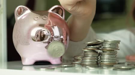 they : Girl preschooler puts money in a piggy bank pink pig