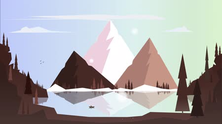 иллюстрированный : Lonely boat on sea in the background mountains at dawn in the winter. Snowing. Illustrated animation
