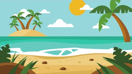 иллюстрированный : Scenery of the ocean and the island with palm trees. 2d illustrated animation