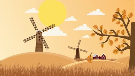 malom : Work windmills in the field. 2d illustrated animation