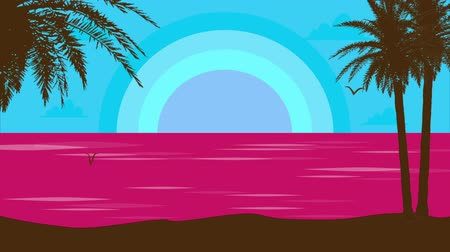 иллюстрированный : Sunrise on the ocean. In the foreground is a beach with palm trees. 2d illustrated animation